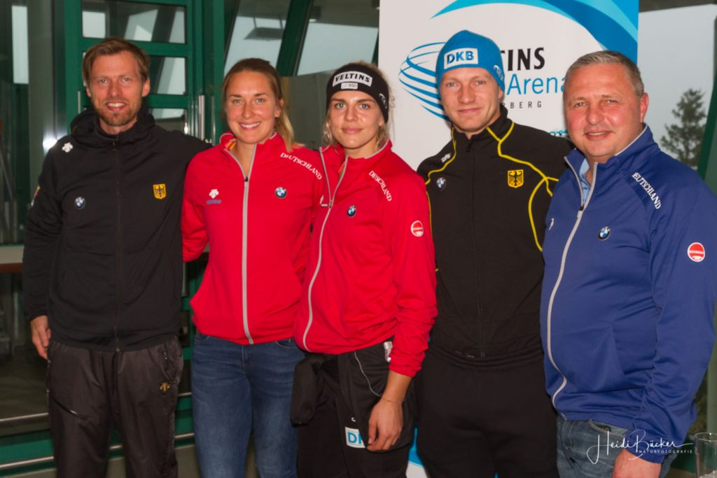 v.li. Bundestrainer René Spies (Bob), Jacqueline Lölling, Annika Drazek, Francesco Friedrich und Bundestrainer Jens Müller (Skeleton)